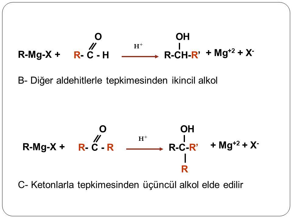 + Mg +2 + X - R-Mg-X + R- C - H O R-CH-R' OH H+H+ + Mg +2 + X - R-Mg-X + R- C - R O R-C-R' OH H+H+ R B- Diğer aldehitlerle tepkimesinden ikincil alkol