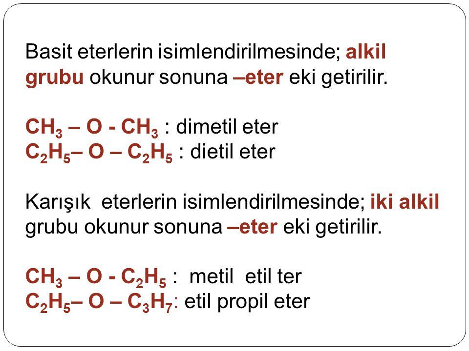 Basit eterlerin isimlendirilmesinde; alkil grubu okunur sonuna –eter eki getirilir. CH 3 – O - CH 3 : dimetil eter C 2 H 5 – O – C 2 H 5 : dietil eter