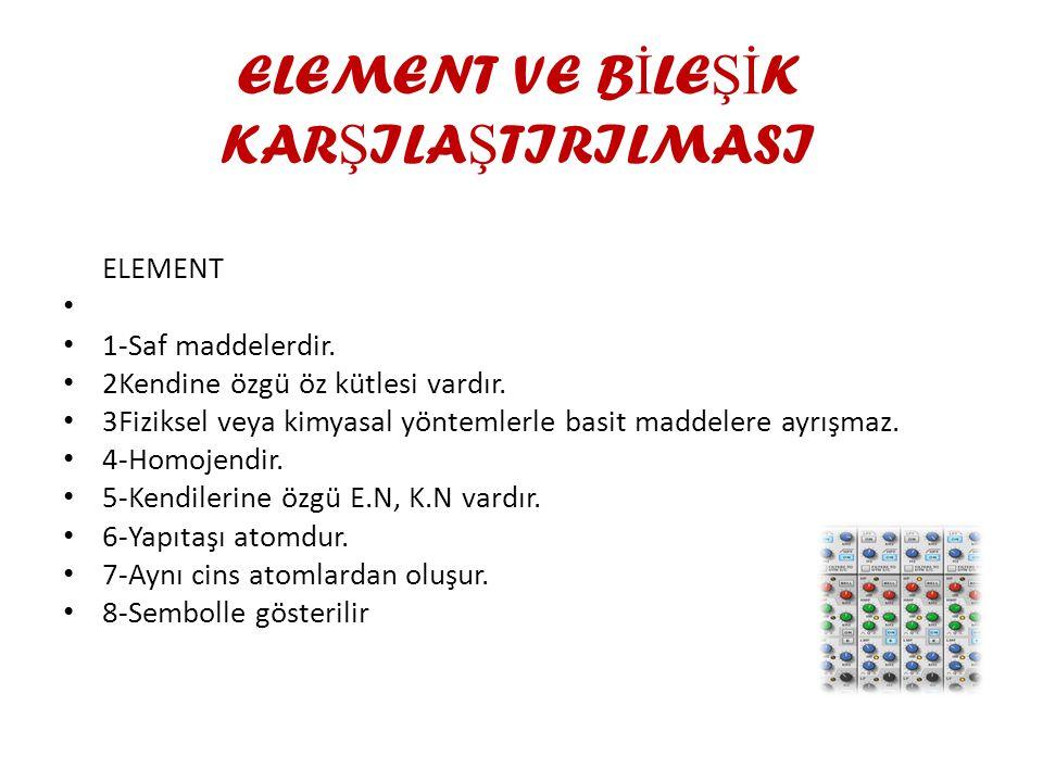 ELEMENT VE B İ LE Şİ K KAR Ş ILA Ş TIRILMASI ELEMENT 1-Saf maddelerdir.