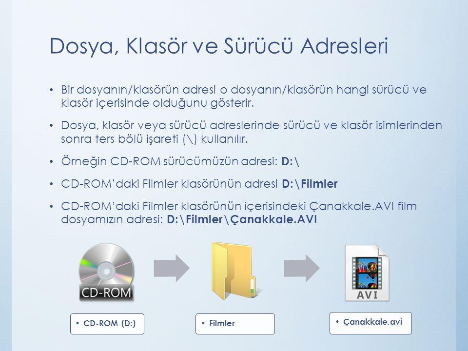 Dosya, Klasör ve Sürücü Adresleri Bir dosyanın/klasörün adresi o dosyanın/klasörün hangi sürücü ve klasör içerisinde olduğunu gösterir.