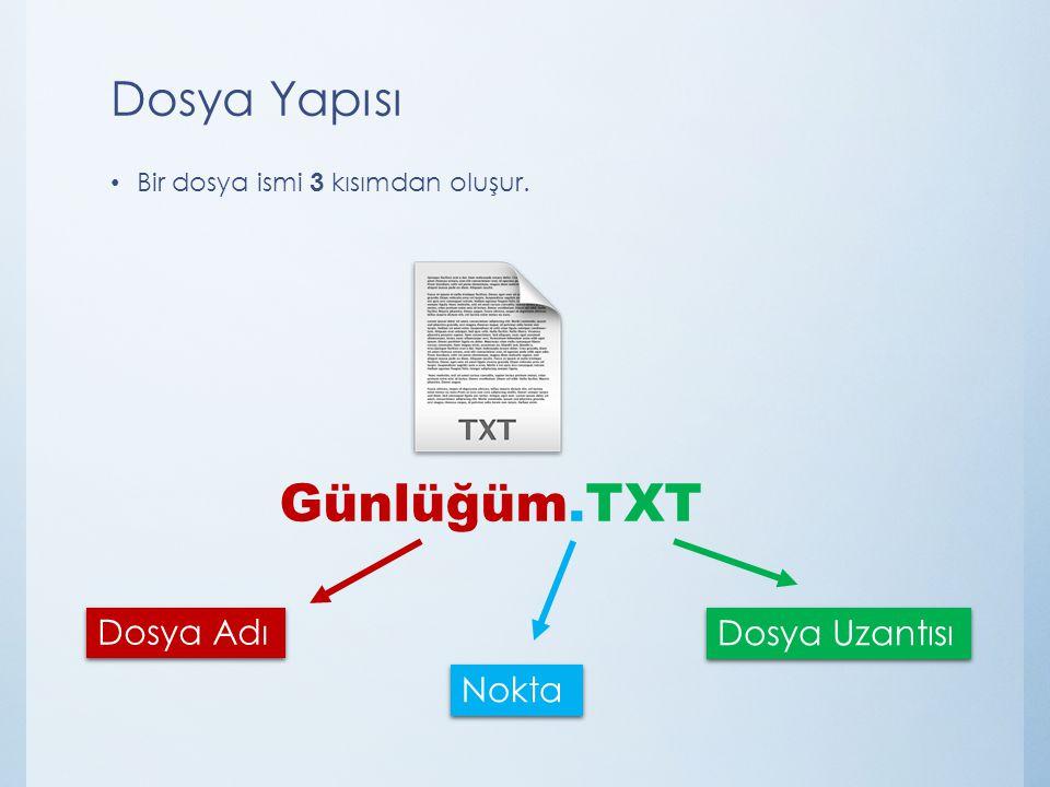 Dosya Yapısı Bir dosya ismi 3 kısımdan oluşur. Dosya Adı Nokta Dosya Uzantısı Günlüğüm.TXT