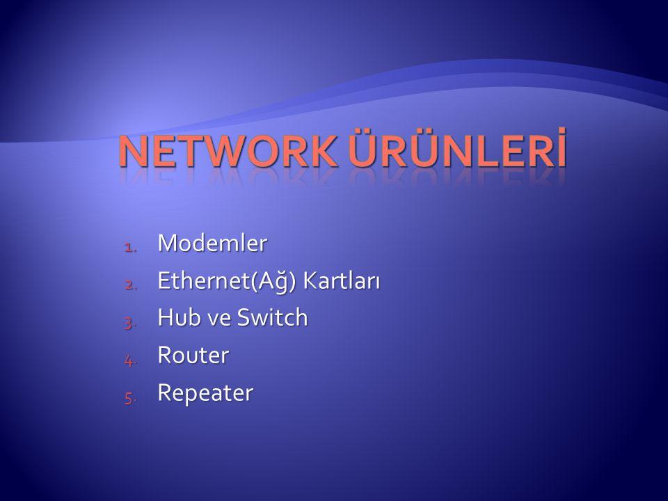 1. Modemler 2. Ethernet(Ağ) Kartları 3. Hub ve Switch 4. Router 5. Repeater