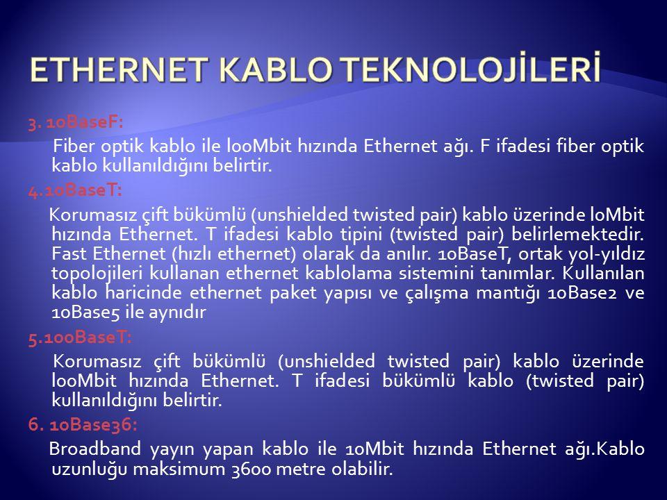 3.10BaseF: Fiber optik kablo ile l00Mbit hızında Ethernet ağı.