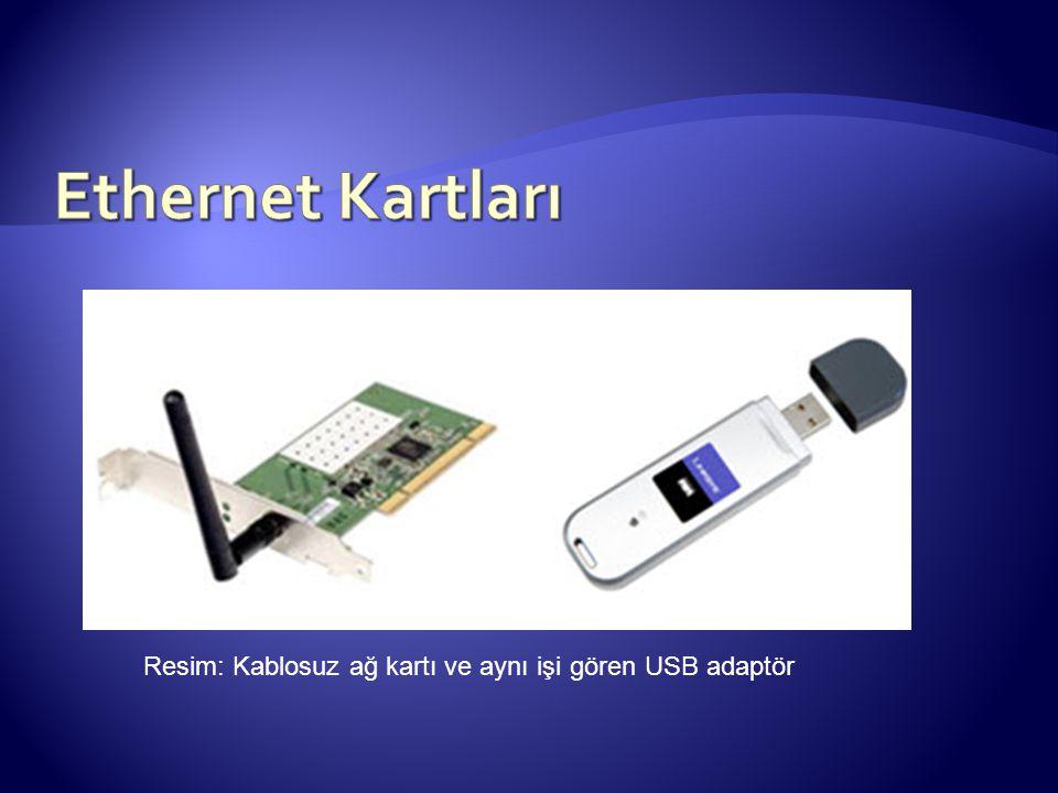 Resim: Kablosuz ağ kartı ve aynı işi gören USB adaptör