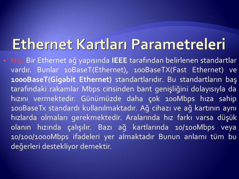  Hız: Bir Ethernet ağ yapısında IEEE tarafından belirlenen standartlar vardır.