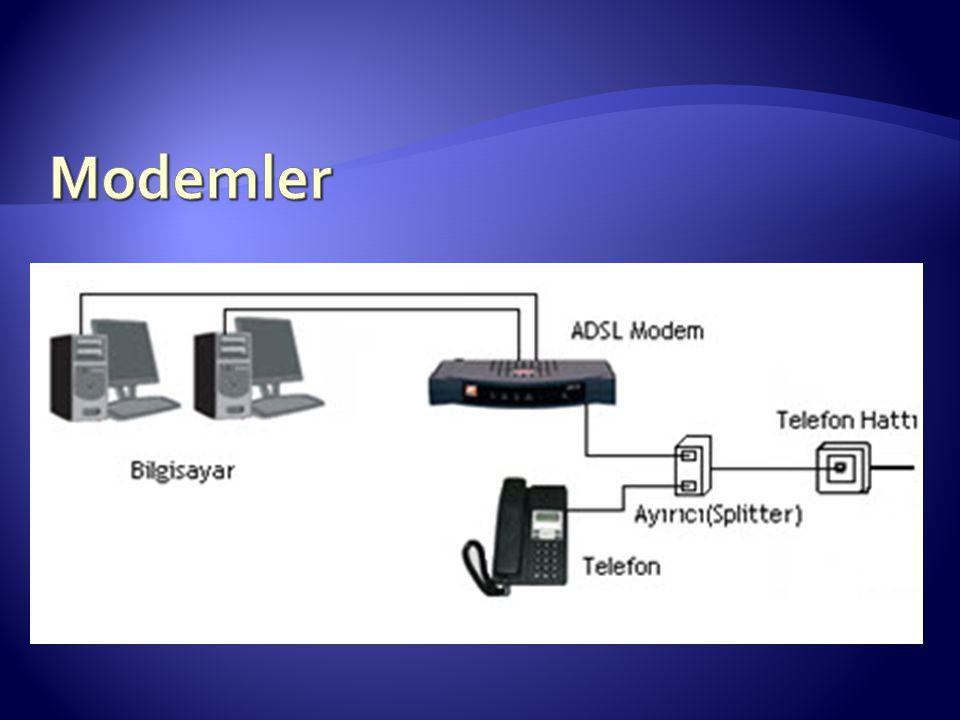  Bilgisayarlarda yaygın kullanılan üç çeşit modem vardır.