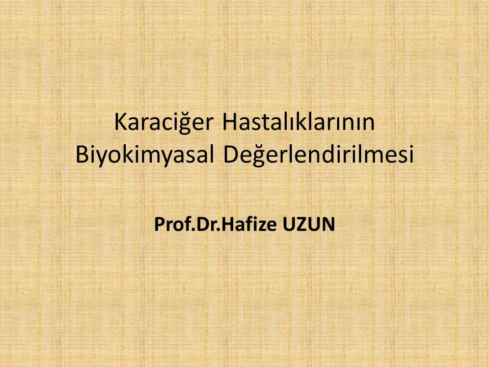 Karaciğer Hastalıklarının Biyokimyasal Değerlendirilmesi Prof.Dr.Hafize UZUN