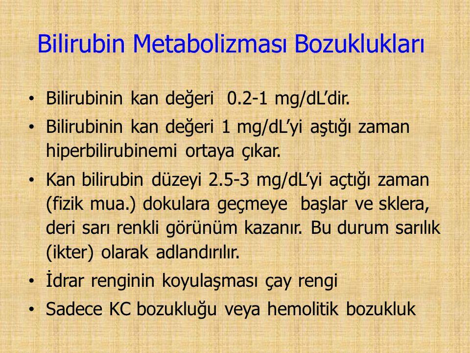 Bilirubinin kan değeri 0.2-1 mg/dL'dir.