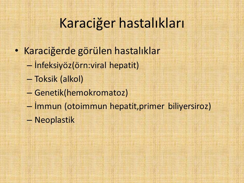 Karaciğer hastalıkları Karaciğerde görülen hastalıklar – İnfeksiyöz(örn:viral hepatit) – Toksik (alkol) – Genetik(hemokromatoz) – İmmun (otoimmun hepatit,primer biliyersiroz) – Neoplastik
