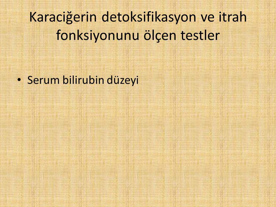 Karaciğerin detoksifikasyon ve itrah fonksiyonunu ölçen testler Serum bilirubin düzeyi
