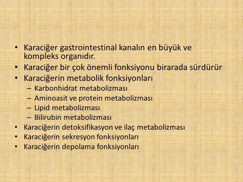 Karaciğer gastrointestinal kanalın en büyük ve kompleks organıdır.
