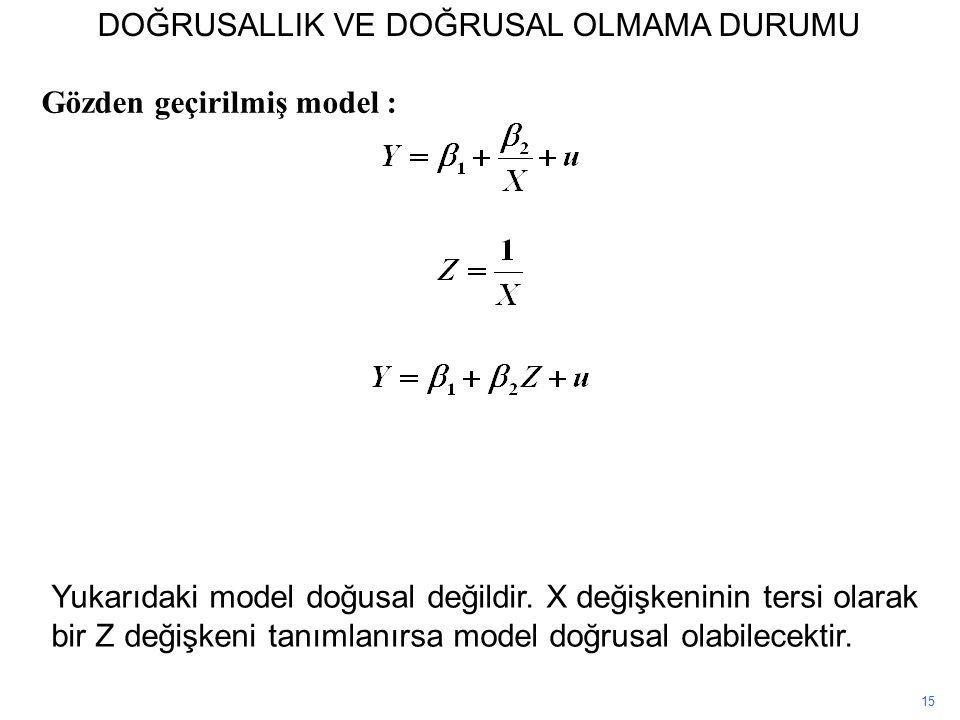 Gözden geçirilmiş model : 15 Yukarıdaki model doğusal değildir.