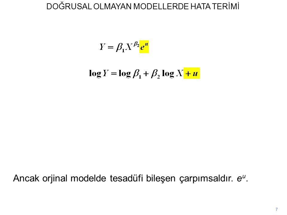 7 Ancak orjinal modelde tesadüfi bileşen çarpımsaldır. e u. DOĞRUSAL OLMAYAN MODELLERDE HATA TERİMİ