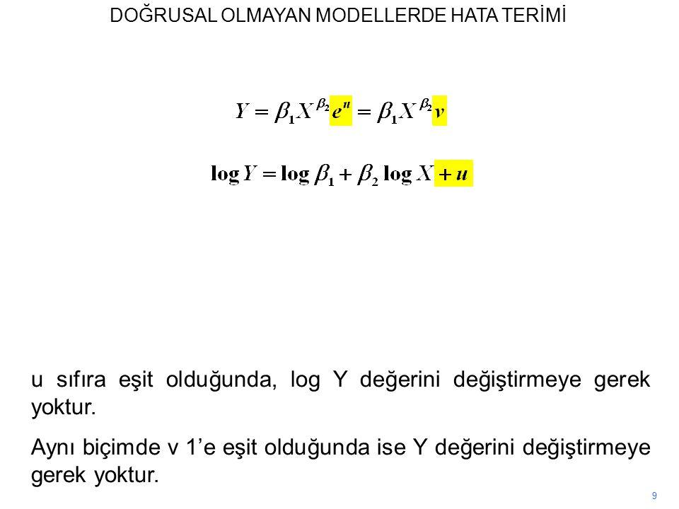 9 u sıfıra eşit olduğunda, log Y değerini değiştirmeye gerek yoktur.
