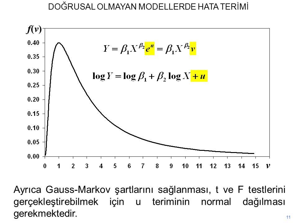 v f(v)f(v) 11 Ayrıca Gauss-Markov şartlarını sağlanması, t ve F testlerini gerçekleştirebilmek için u teriminin normal dağılması gerekmektedir.