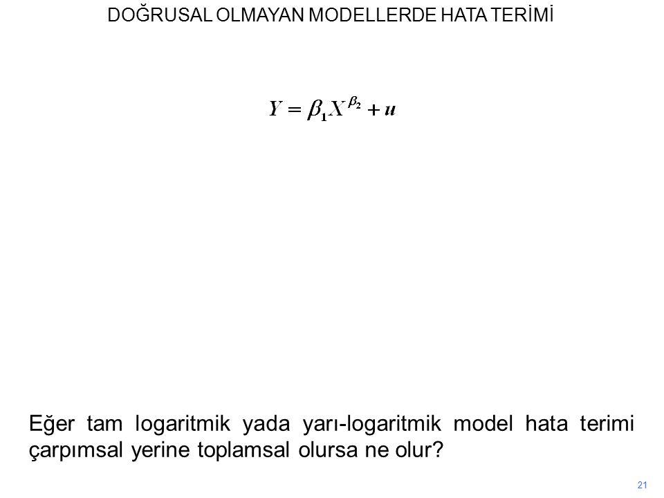 21 Eğer tam logaritmik yada yarı-logaritmik model hata terimi çarpımsal yerine toplamsal olursa ne olur.