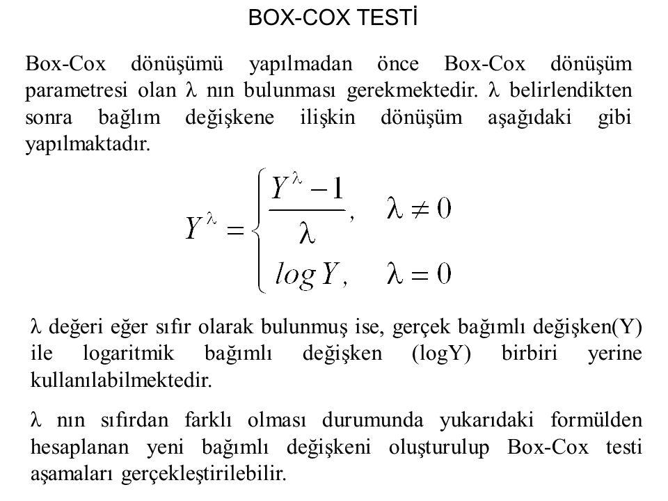 Box-Cox dönüşümü yapılmadan önce Box-Cox dönüşüm parametresi olan λ nın bulunması gerekmektedir.