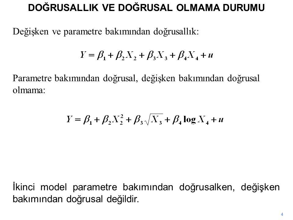 Değişken ve parametre bakımından doğrusallık: Parametre bakımından doğrusal, değişken bakımından doğrusal olmama: DOĞRUSALLIK VE DOĞRUSAL OLMAMA DURUMU 4 İkinci model parametre bakımından doğrusalken, değişken bakımından doğrusal değildir.