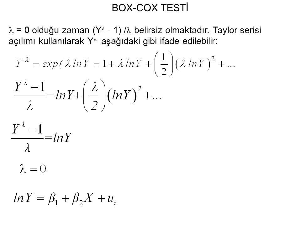 BOX-COX TESTİ = 0 olduğu zaman (Y - 1) / belirsiz olmaktadır.
