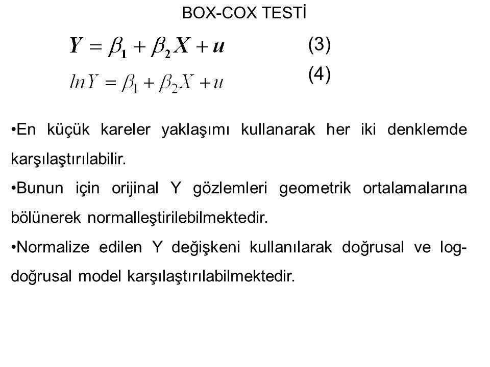 (3) (4) En küçük kareler yaklaşımı kullanarak her iki denklemde karşılaştırılabilir.