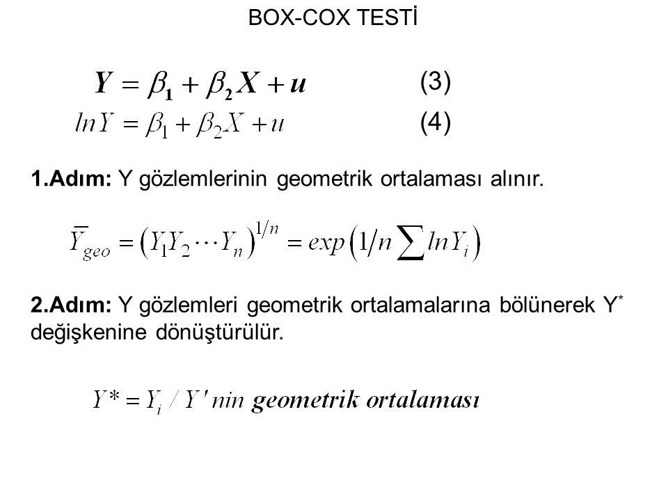 BOX-COX TESTİ 1.Adım: Y gözlemlerinin geometrik ortalaması alınır.