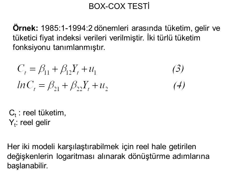 BOX-COX TESTİ Örnek: 1985:1-1994:2 dönemleri arasında tüketim, gelir ve tüketici fiyat indeksi verileri verilmiştir.