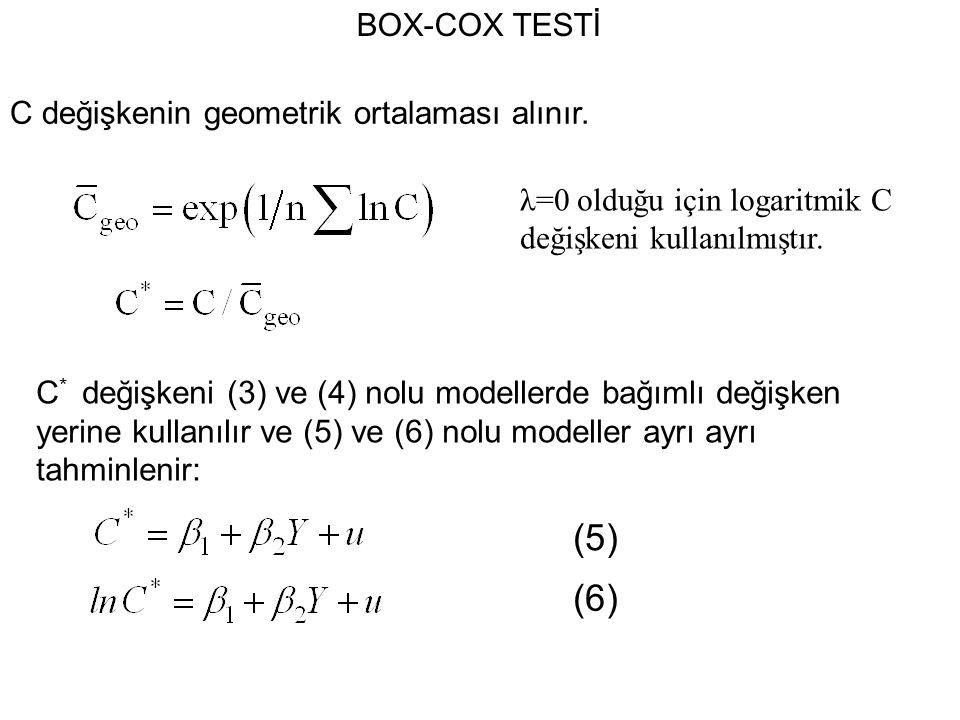 BOX-COX TESTİ C değişkenin geometrik ortalaması alınır.