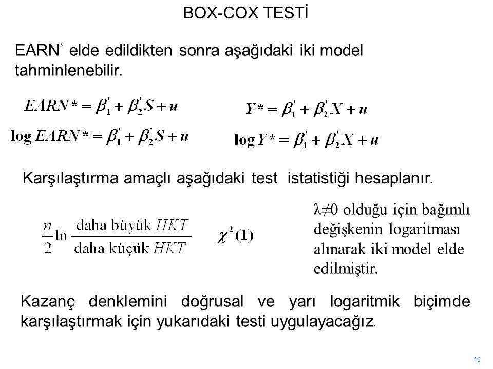 10 BOX-COX TESTİ Kazanç denklemini doğrusal ve yarı logaritmik biçimde karşılaştırmak için yukarıdaki testi uygulayacağız.