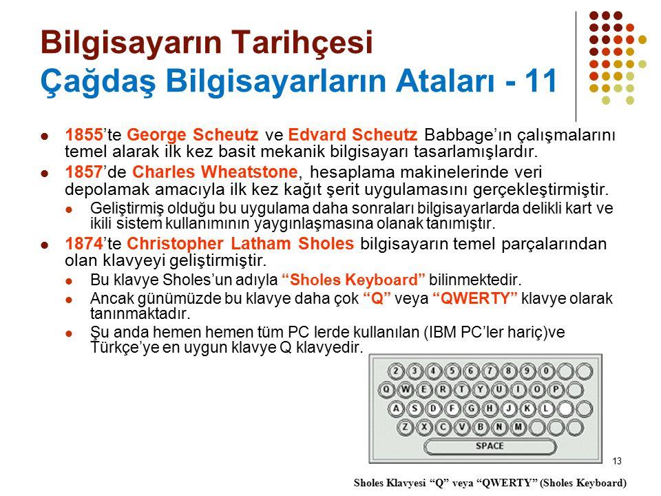 13 Bilgisayarın Tarihçesi Çağdaş Bilgisayarların Ataları - 11 1855'te George Scheutz ve Edvard Scheutz Babbage'ın çalışmalarını temel alarak ilk kez b