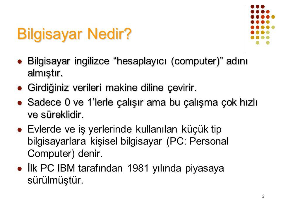 """2 Bilgisayar Nedir? Bilgisayar ingilizce """"hesaplayıcı (computer)"""" adını almıştır. Bilgisayar ingilizce """"hesaplayıcı (computer)"""" adını almıştır. Girdiğ"""