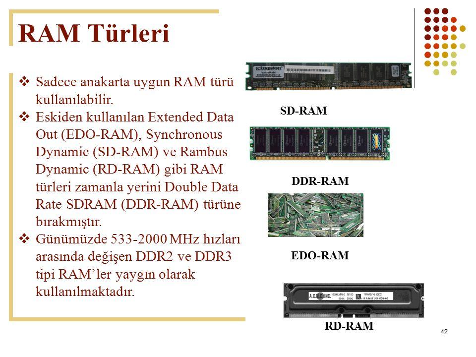 42 RAM Türleri  Sadece anakarta uygun RAM türü kullanılabilir.  Eskiden kullanılan Extended Data Out (EDO-RAM), Synchronous Dynamic (SD-RAM) ve Ramb