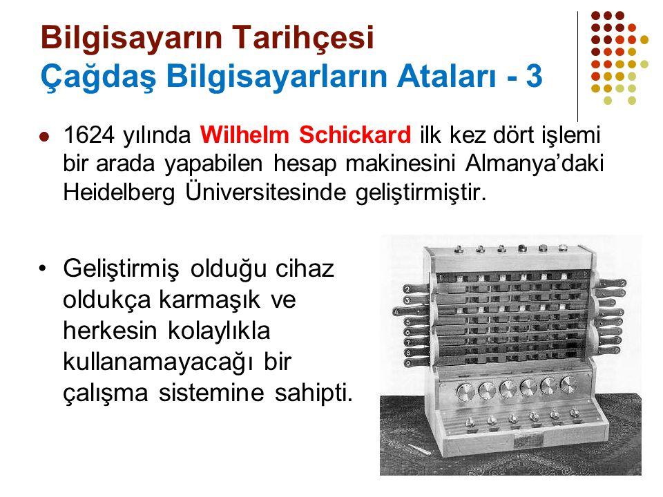 5 Bilgisayarın Tarihçesi Çağdaş Bilgisayarların Ataları - 3 1624 yılında Wilhelm Schickard ilk kez dört işlemi bir arada yapabilen hesap makinesini Al