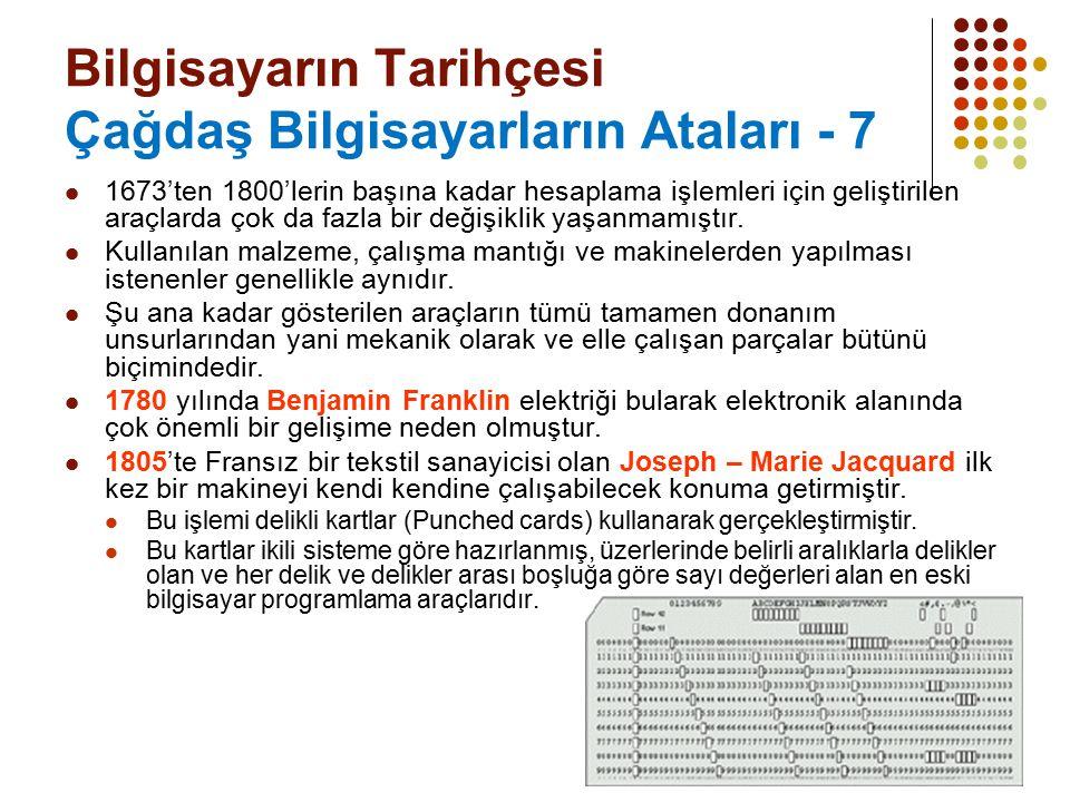 9 Bilgisayarın Tarihçesi Çağdaş Bilgisayarların Ataları - 7 1673'ten 1800'lerin başına kadar hesaplama işlemleri için geliştirilen araçlarda çok da fa