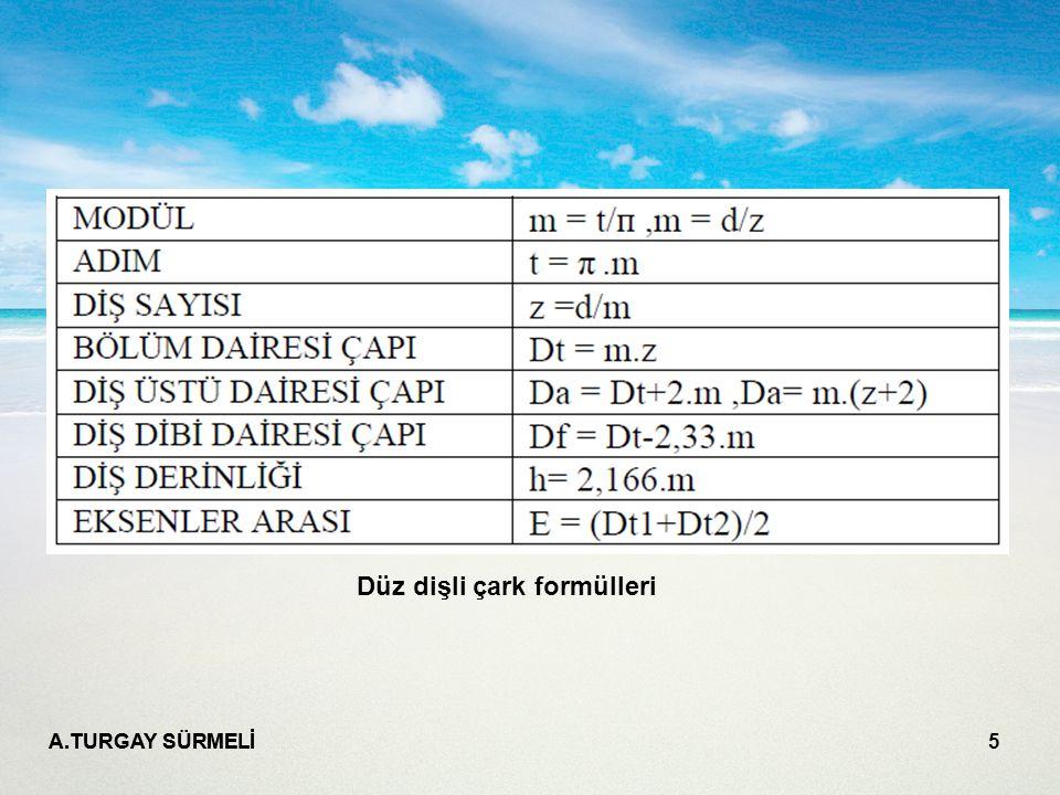 A.TURGAY SÜRMELİ 5 Düz dişli çark formülleri