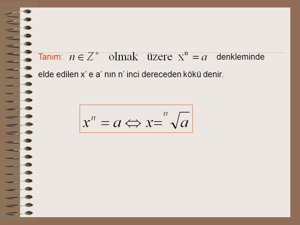 Tanım: denkleminde elde edilen x' e a' nın n' inci dereceden kökü denir.