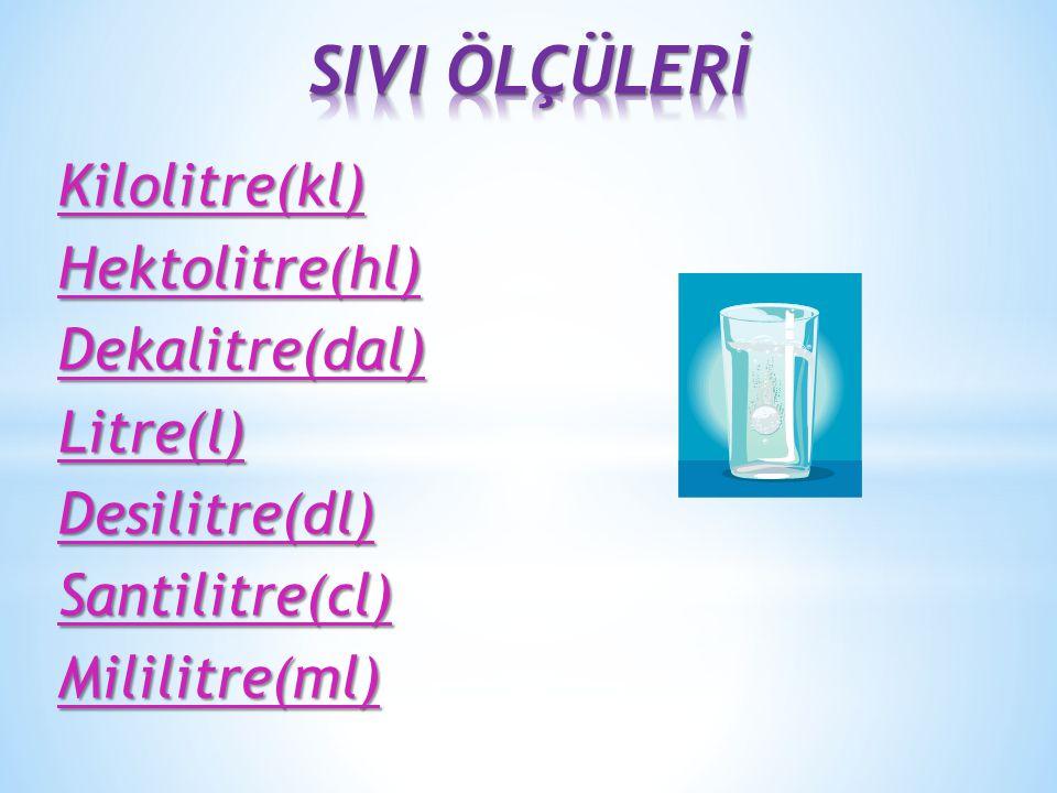 Kilolitre(kl)Hektolitre(hl)Dekalitre(dal)Litre(l)Desilitre(dl)Santilitre(cl)Mililitre(ml)