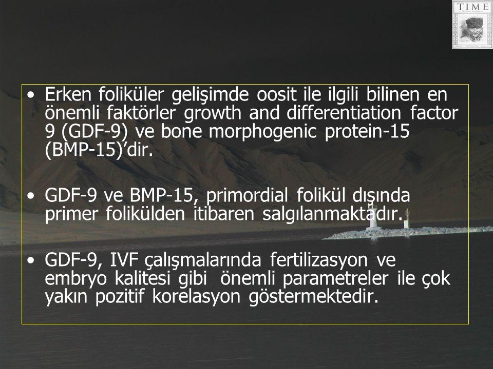 Erken foliküler gelişimde oosit ile ilgili bilinen en önemli faktörler growth and differentiation factor 9 (GDF-9) ve bone morphogenic protein-15 (BMP