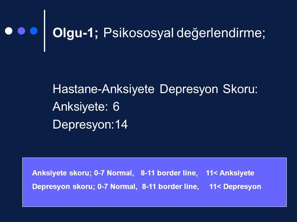 Olgu-1; Psikososyal değerlendirme; Hastane-Anksiyete Depresyon Skoru: Anksiyete: 6 Depresyon:14 Anksiyete skoru; 0-7 Normal, 8-11 border line, 11< Anksiyete Depresyon skoru; 0-7 Normal, 8-11 border line, 11< Depresyon