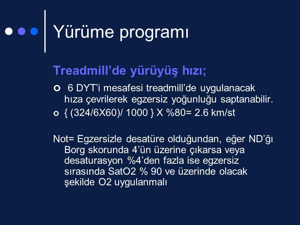 Yürüme programı Treadmill'de yürüyüş hızı; 6 DYT'i mesafesi treadmill'de uygulanacak hıza çevrilerek egzersiz yoğunluğu saptanabilir.