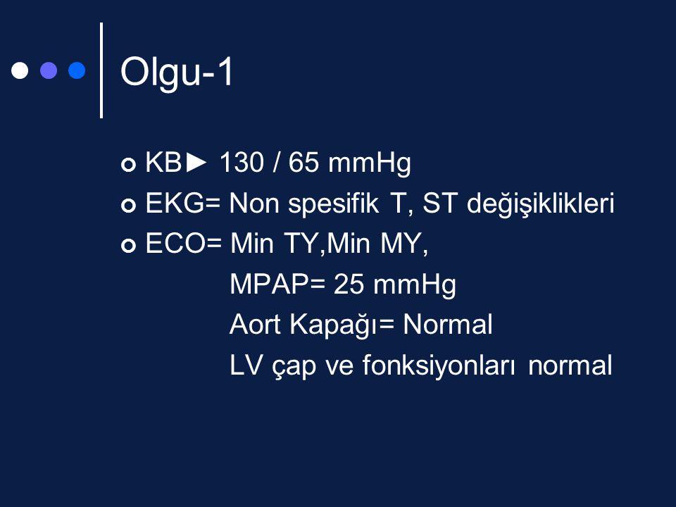 Olgu-1 KB► 130 / 65 mmHg EKG= Non spesifik T, ST değişiklikleri ECO= Min TY,Min MY, MPAP= 25 mmHg Aort Kapağı= Normal LV çap ve fonksiyonları normal