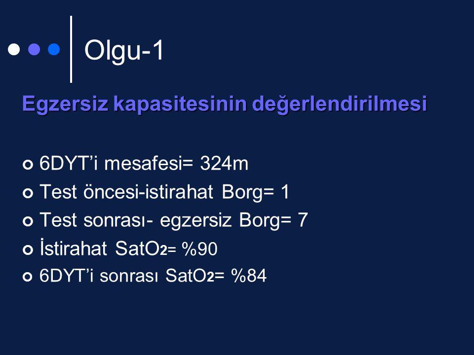 Olgu-1 Egzersiz kapasitesinin değerlendirilmesi 6DYT'i mesafesi= 324m Test öncesi-istirahat Borg= 1 Test sonrası- egzersiz Borg= 7 İstirahat SatO 2 = %90 6DYT'i sonrası SatO 2 = %84