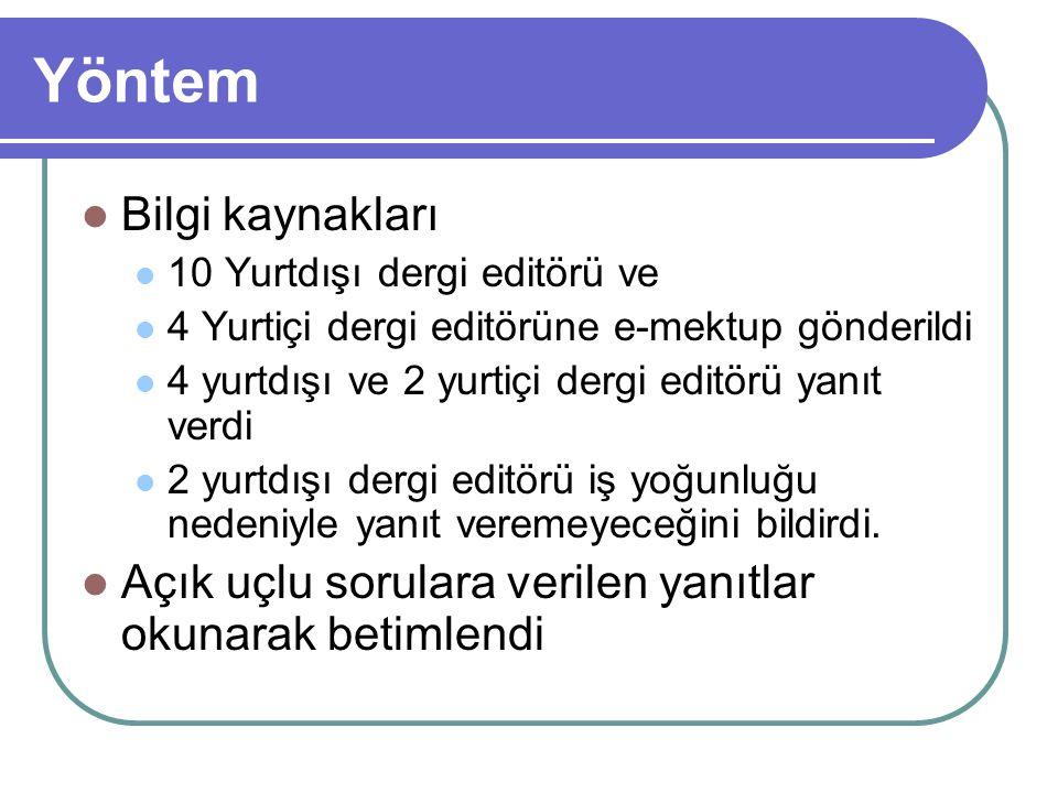 Yöntem Bilgi kaynakları 10 Yurtdışı dergi editörü ve 4 Yurtiçi dergi editörüne e-mektup gönderildi 4 yurtdışı ve 2 yurtiçi dergi editörü yanıt verdi 2