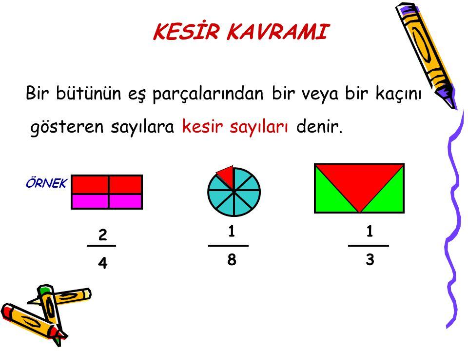 KESİR KAVRAMI Bir bütünün eş parçalarından bir veya bir kaçını gösteren sayılara kesir sayıları denir.
