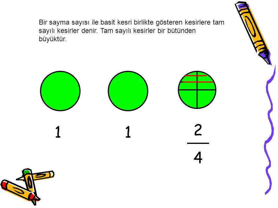 Bir sayma sayısı ile basit kesri birlikte gösteren kesirlere tam sayılı kesirler denir.