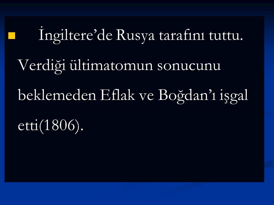 Osmanlı Devleti, Fransa'nın isteğiyle Rus taraftarı olarak bilinen Eflak ve Boğdan beylerini azletti. Ayrıca Boğazlar Rus gemilerine kapatıldı. Rusya