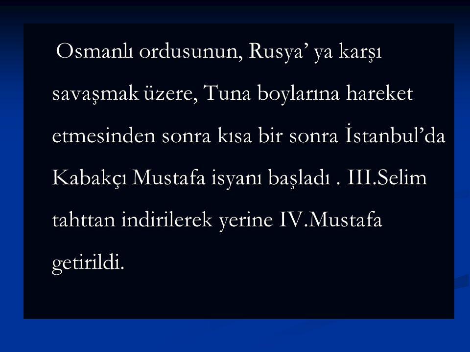 İngiltere'de Osmanlı Devleti'nden Eflak ve Boğdan beylerini görevlerine iade etmesini, Boğazların da açılmasını istedi. Osmanlı kabul etmedi. İngilter