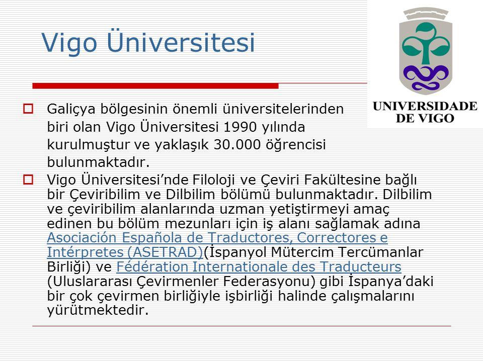 Vigo Üniversitesi  Galiçya bölgesinin önemli üniversitelerinden biri olan Vigo Üniversitesi 1990 yılında kurulmuştur ve yaklaşık 30.000 öğrencisi bul