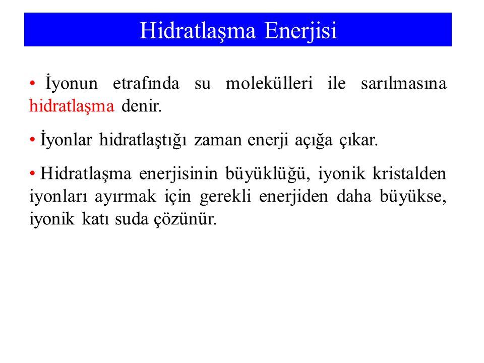 Hidratlaşma Enerjisi İyonun etrafında su molekülleri ile sarılmasına hidratlaşma denir.