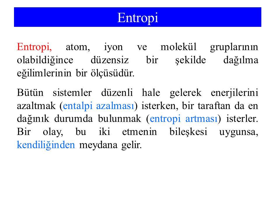 Entropi Entropi, atom, iyon ve molekül gruplarının olabildiğince düzensiz bir şekilde dağılma eğilimlerinin bir ölçüsüdür.