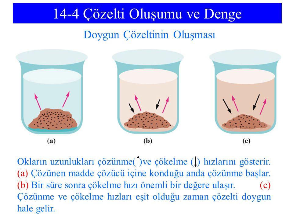 14-4 Çözelti Oluşumu ve Denge Doygun Çözeltinin Oluşması Okların uzunlukları çözünme( )ve çökelme ( ) hızlarını gösterir.